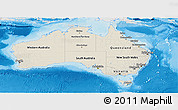 Shaded Relief Panoramic Map of Australia, lighten, desaturated, land only