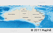 Shaded Relief Panoramic Map of Australia, lighten, semi-desaturated, land only
