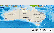 Shaded Relief Panoramic Map of Australia, physical outside