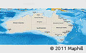 Shaded Relief Panoramic Map of Australia, political shades outside, shaded relief sea
