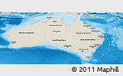 Shaded Relief Panoramic Map of Australia, semi-desaturated, land only