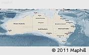 Shaded Relief Panoramic Map of Australia, semi-desaturated