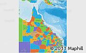 Political 3D Map of Queensland