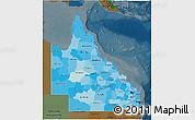 Political Shades 3D Map of Queensland, darken