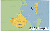 Savanna Style 3D Map of Brisbane, single color outside