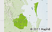 Physical Map of Brisbane, lighten
