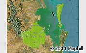 Physical Map of Brisbane, satellite outside