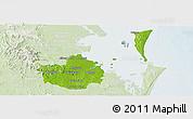 Physical Panoramic Map of Brisbane, lighten