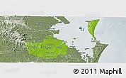 Physical Panoramic Map of Brisbane, semi-desaturated