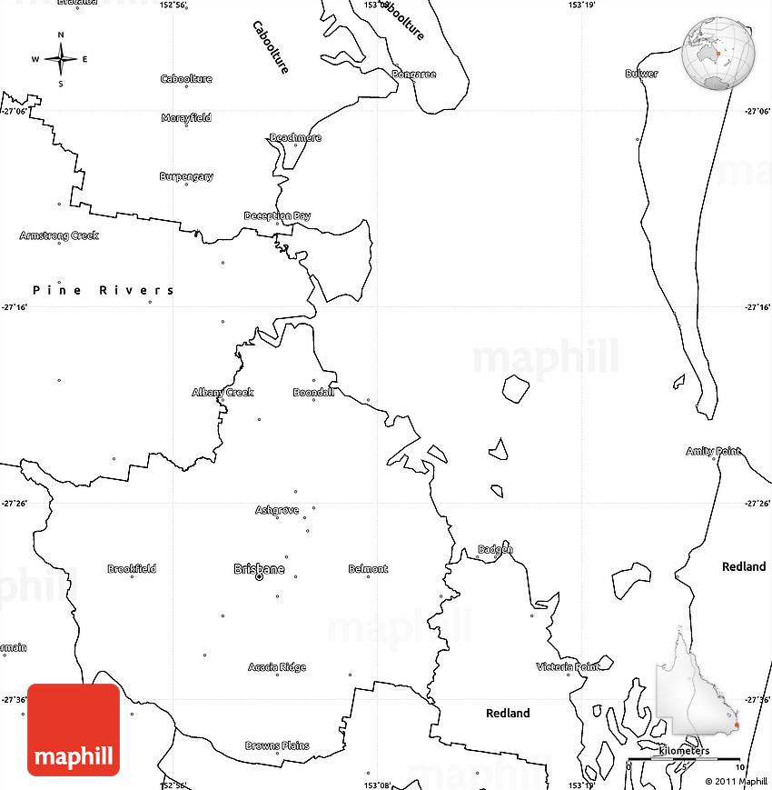 Blank Simple Map of Brisbane