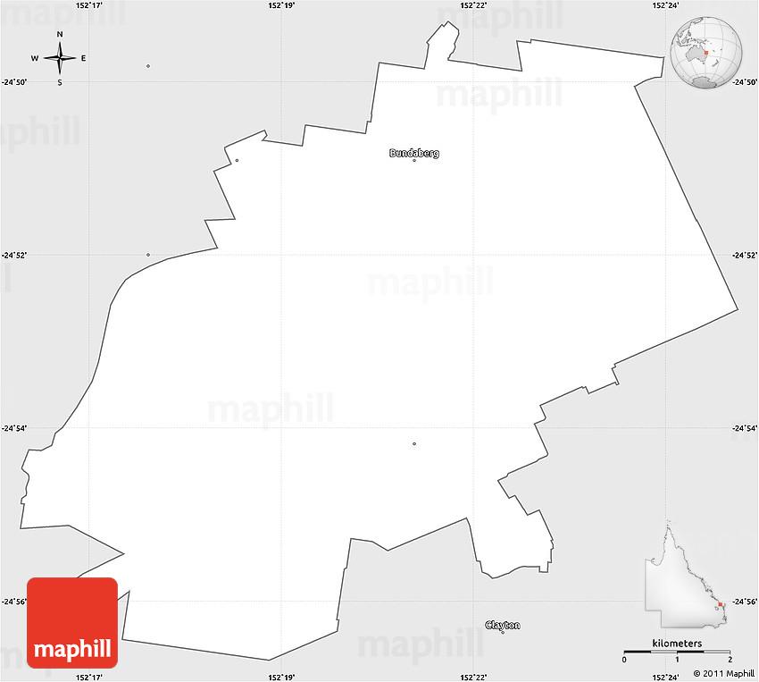 Silver Style Simple Map Of Bundaberg