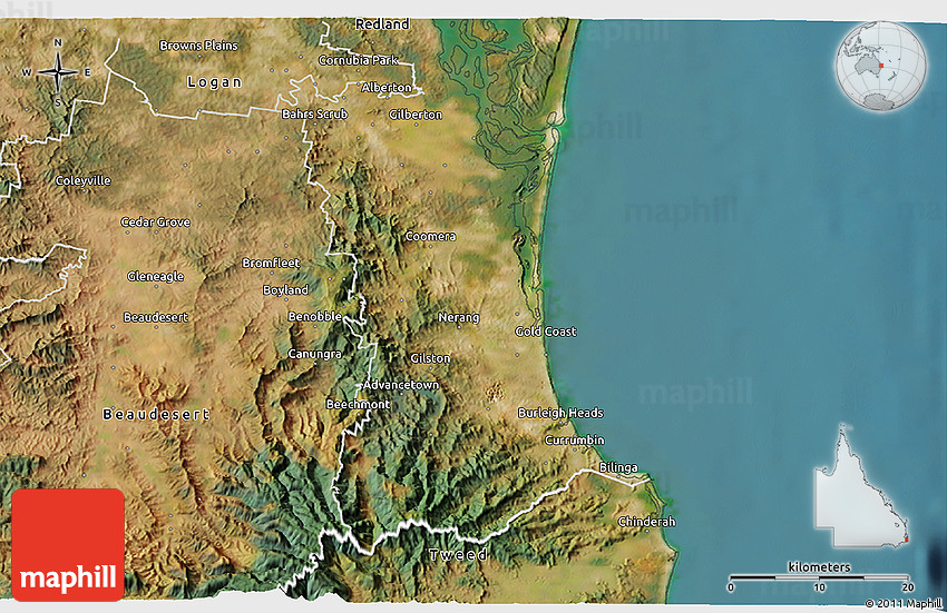 Satellite 3D Map of Gold Coast