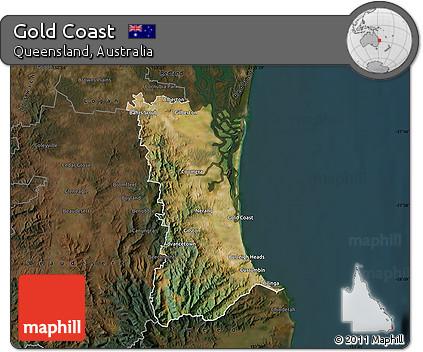 Free Satellite Map of Gold Coast, darken