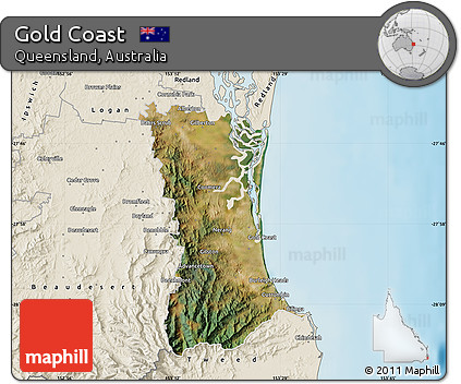 Free Satellite Map of Gold Coast, shaded relief outside