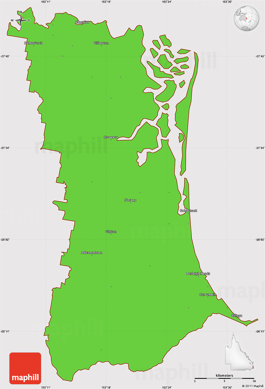 Map Of Australia Gold Coast.Political Simple Map Of Gold Coast Cropped Outside