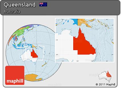 Map Of Australia Highlighting Queensland.Free Political Location Map Of Queensland Highlighted Country