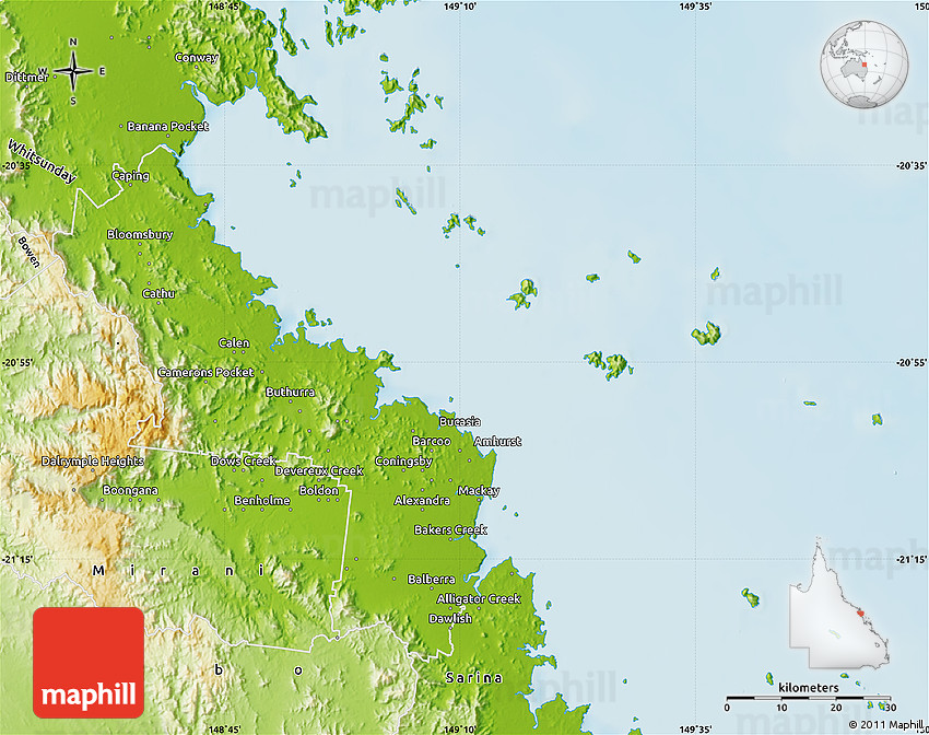 Mckay Australia Map.Physical Map Of Mackay
