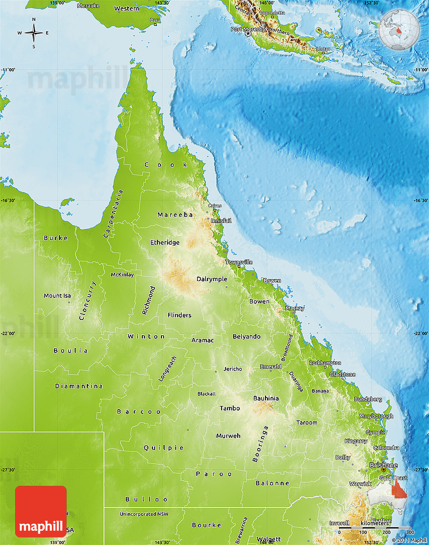 Map Queensland.Physical Map Of Queensland
