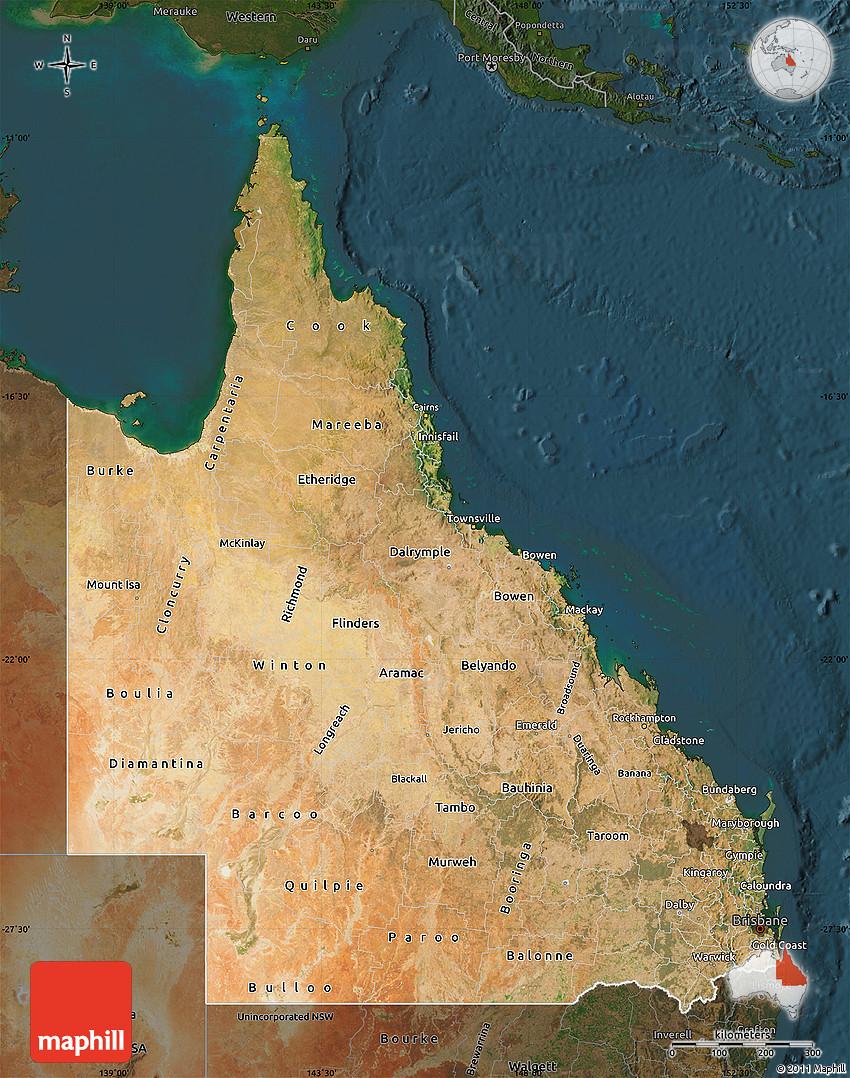 Satellite Map Of Queensland Darken - Hd satellite map