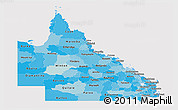 Political Shades Panoramic Map of Queensland, cropped outside