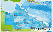 Political Shades Panoramic Map of Queensland, physical outside