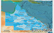 Political Shades Panoramic Map of Queensland, satellite outside
