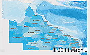 Political Shades Panoramic Map of Queensland, single color outside