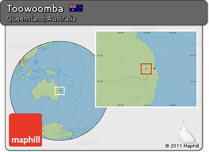 Free Savanna Style Location Map of Toowoomba
