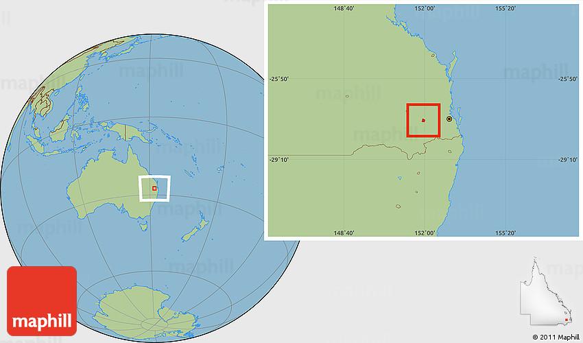 Savanna Style Location Map of Toowoomba