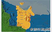 Political 3D Map of Townsville, darken