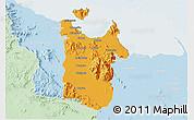 Political 3D Map of Townsville, lighten