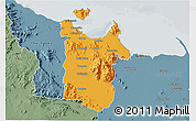 Political 3D Map of Townsville, semi-desaturated