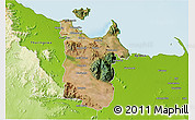 Satellite 3D Map of Townsville, physical outside