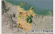 Satellite 3D Map of Townsville, semi-desaturated