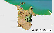 Satellite 3D Map of Townsville, single color outside