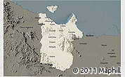 Shaded Relief 3D Map of Townsville, darken