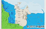 Shaded Relief 3D Map of Townsville, political outside