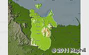 Physical Map of Townsville, darken