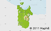 Physical Map of Townsville, single color outside