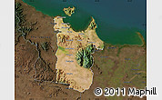 Satellite Map of Townsville, darken