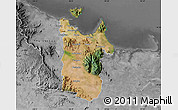 Satellite Map of Townsville, desaturated