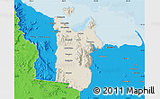 Shaded Relief Map of Townsville, political outside