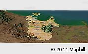 Satellite Panoramic Map of Townsville, darken