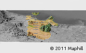 Satellite Panoramic Map of Townsville, desaturated