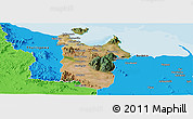 Satellite Panoramic Map of Townsville, political outside