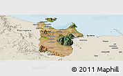 Satellite Panoramic Map of Townsville, shaded relief outside