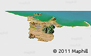 Satellite Panoramic Map of Townsville, single color outside