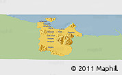 Savanna Style Panoramic Map of Townsville, single color outside