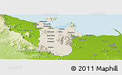 Shaded Relief Panoramic Map of Townsville, physical outside