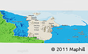 Shaded Relief Panoramic Map of Townsville, political outside